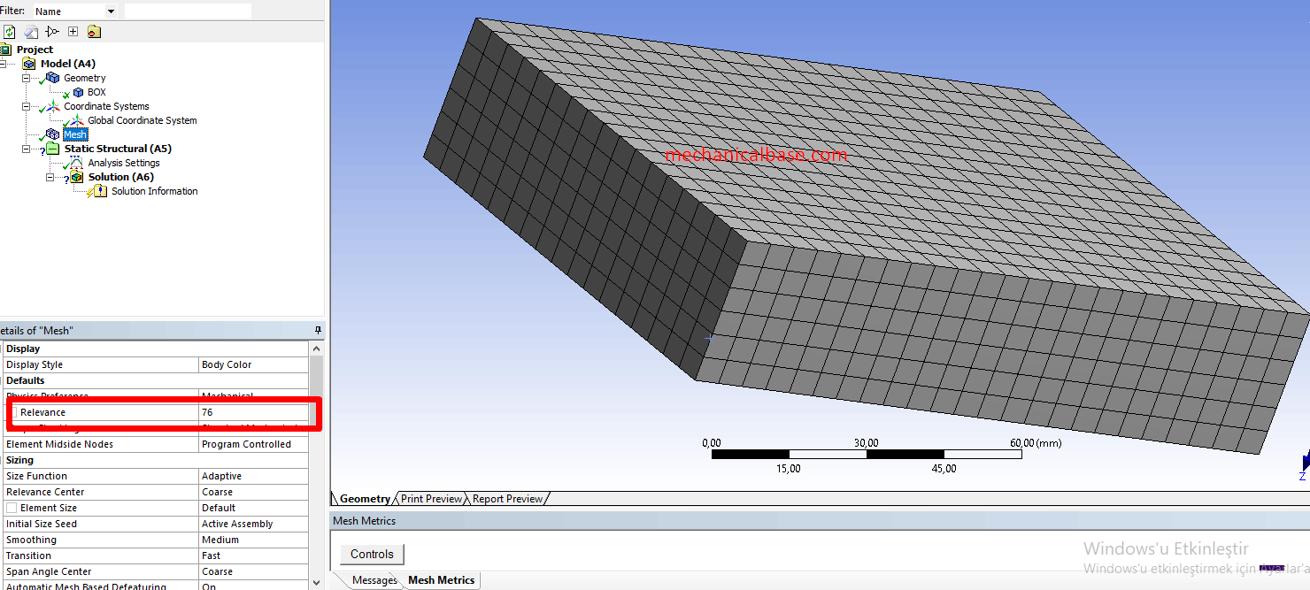 Changing The Relevance Value Of Mesh Structure In ANSYS® Mechanical(Illustrated Expression)