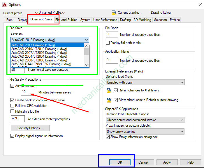 How To Open Autosave Options In AutoCAD(Illustrated Expression)