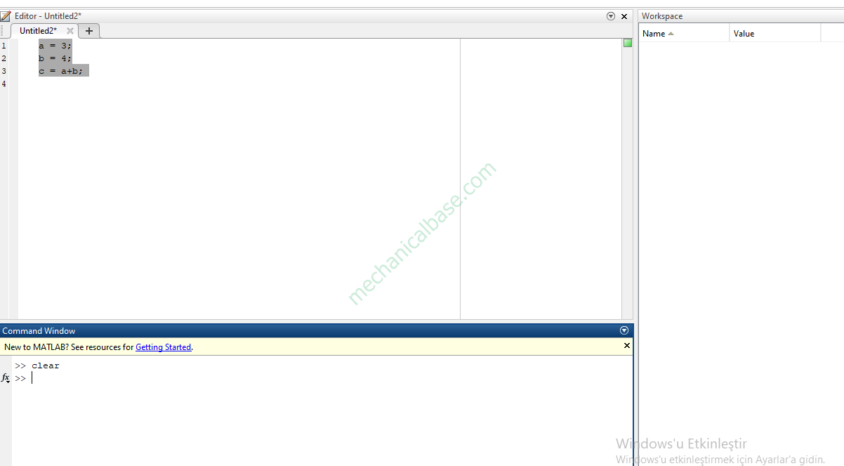 Which Code Clears Command Line And Workspace In MatLab®(Illustrated Expression)