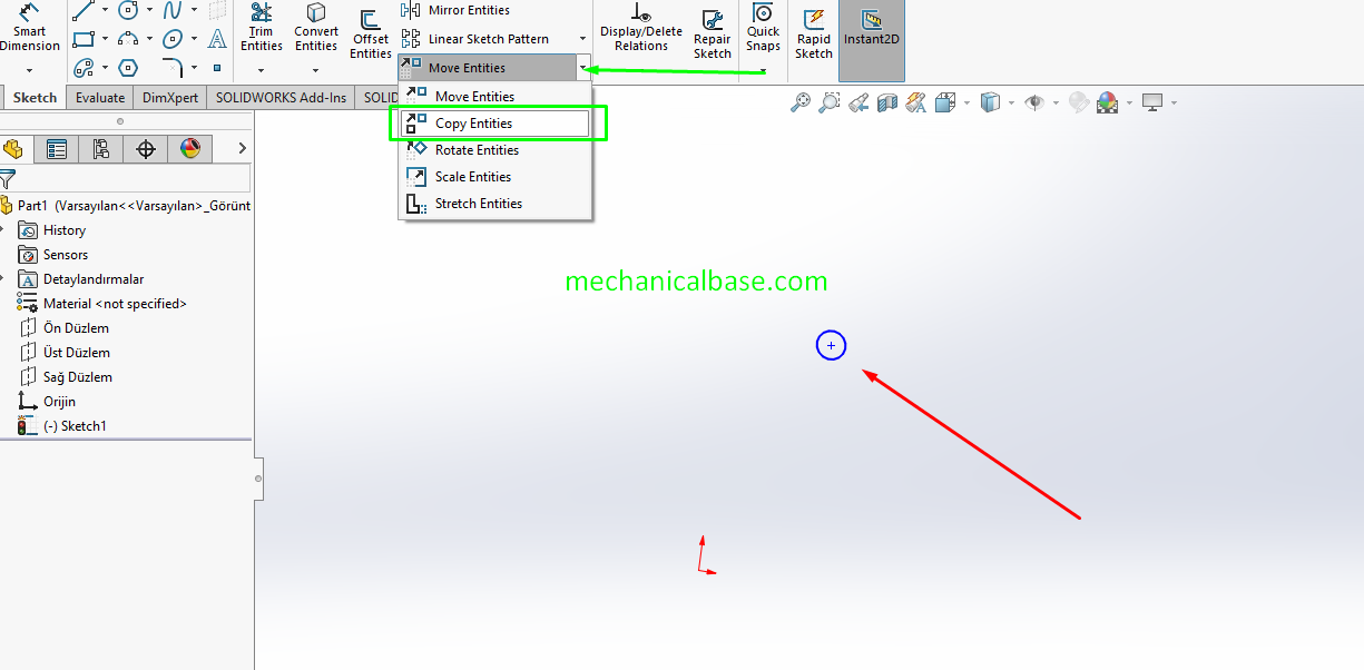 Copying Sketch Entities In Solidworks Sketching(Illustrated Expression)