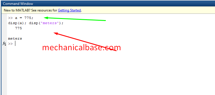 Displaying Variables In MatLab® With 'disp()' Code(Illustrated Expression)