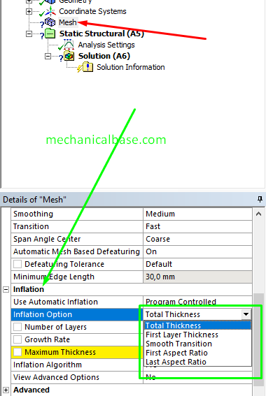 Total Thickness Inflation Option In ANSYS® Meshing(Illustrated Expression)