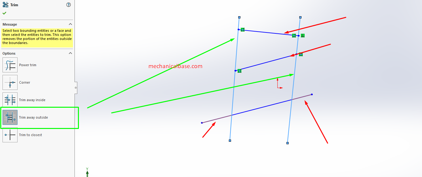 Trim Away Outside In Solidworks Sketching(Illustrated Expression)