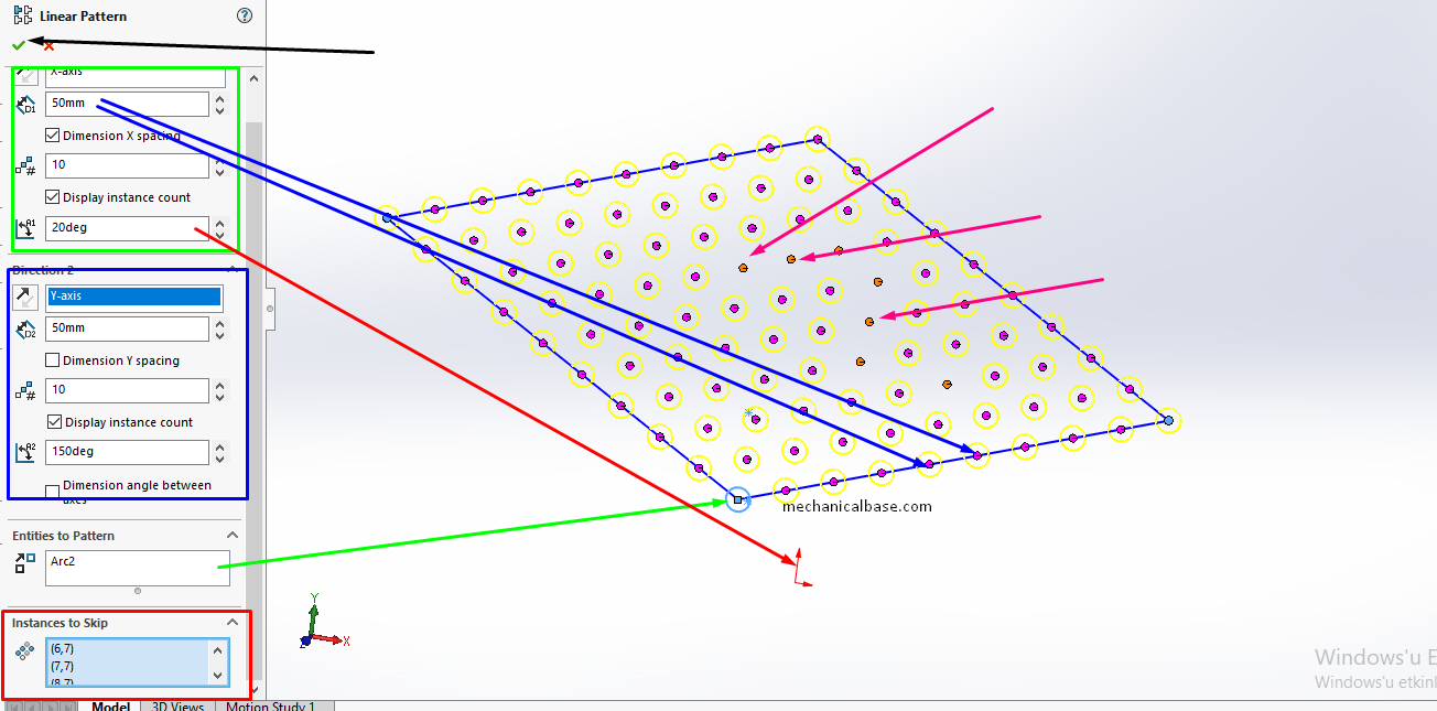 Linear Sketch Patterning In Solidworks Sketching(Illustrated Expression)