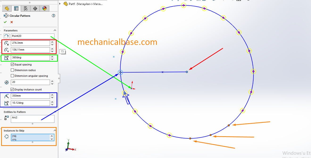 Circular Sketch Patterning In Solidworks Sketching(Illustrated Expression)
