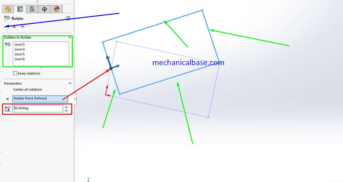 Rotating The Sketch Entities In Solidworks Sketching(Illustrated Expression)