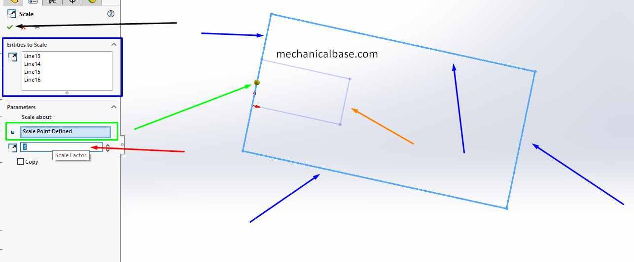 Scaling The Sketch Entities In Solidworks(Illustrated Expression)