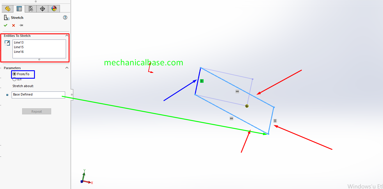 Stretch Entities Command In Solidworks Sketching(Illustrated Expression)