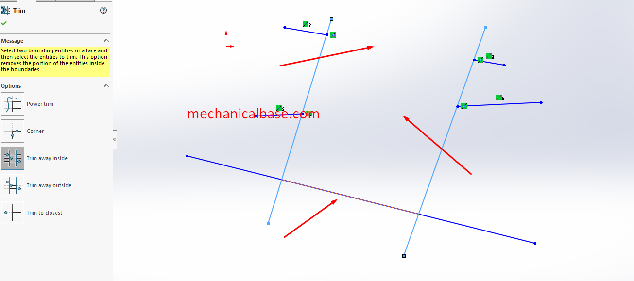 Trim Away Inside Command In Solidworks Sketching(Illustrated Expression)