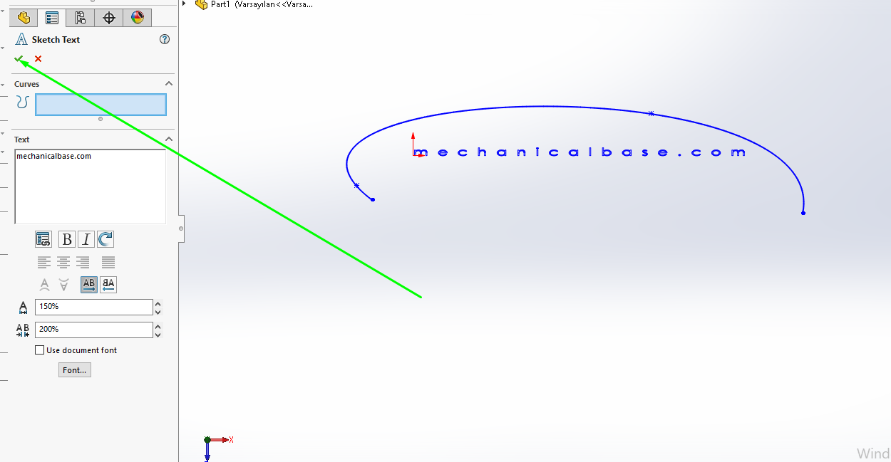 Writing Texts On Sketches In Solidworks(Illustrated Expression)
