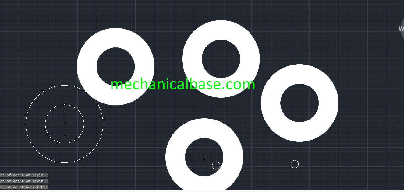 Drawing 2D Donut Geometries In AutoCAD(Illustrated Expression)
