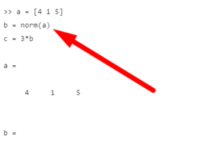 Calculation Of Euclidean Norm Of Vectors In MatLab®(Illustrated Expression)