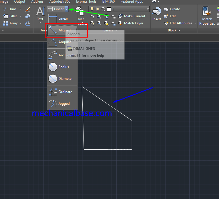 Dimensioning Aligned Entities Linearly In AutoCAD(Illustrated Expression)