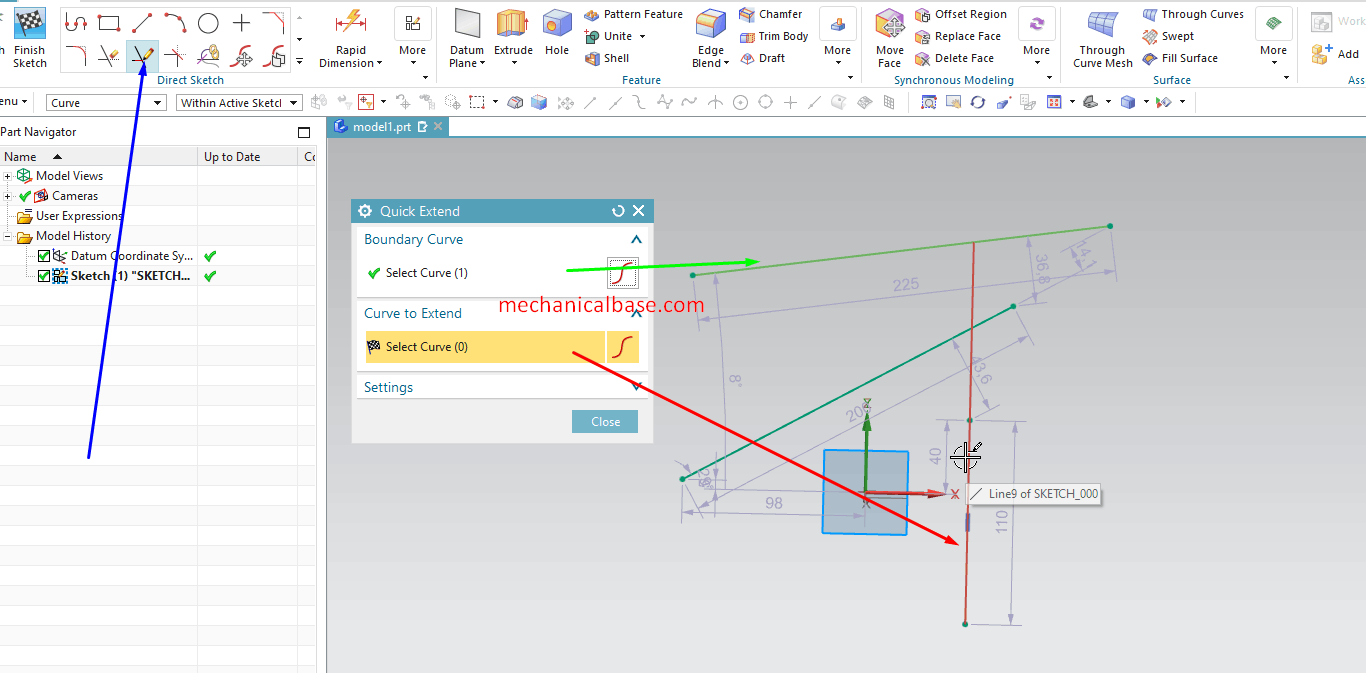 The Use Of Quick Extend Command In Siemens NX