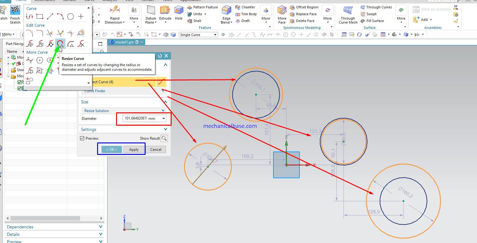 Resizing Lots Of Sketch Entities Same Time In Siemens NX