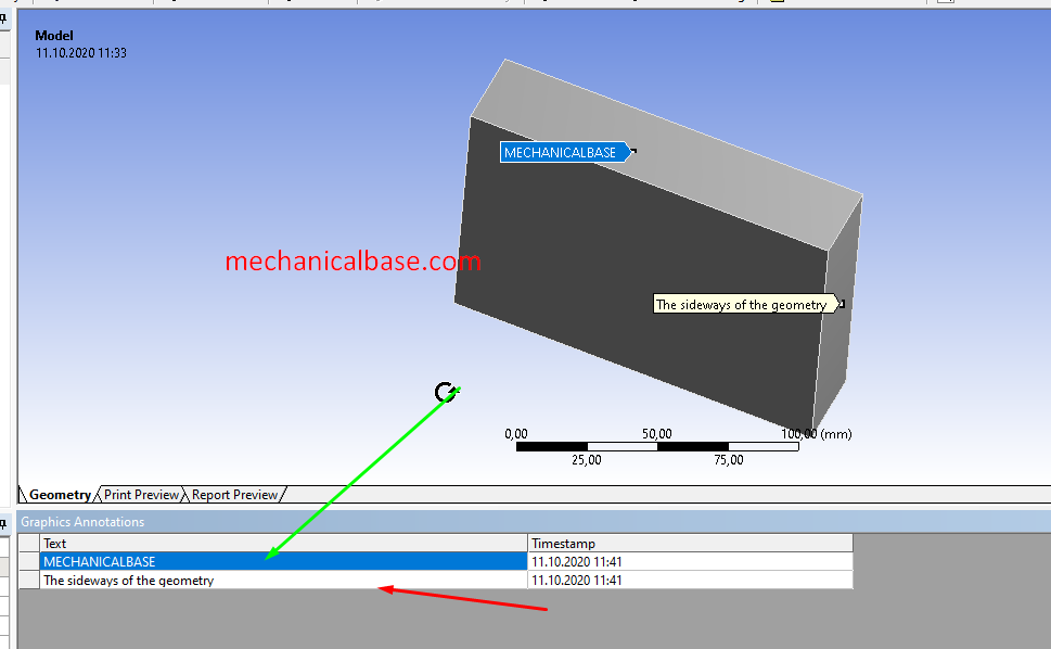 Adding Small Annotations On Geometries In ANSYS® Mechanical